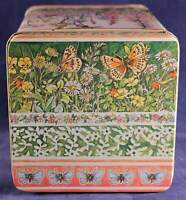 1982 Old Stock Delma Design Flower and Butterfly White Tin