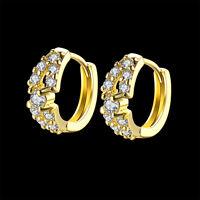 New Fashion Women Jewelry Rhinestone Crystal Gold Plated Ear Stud Hoop Earrings