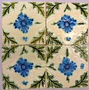 TILE MAJOLICA VINTAGE ENGLAND ART NOUVEAU PORCELAIN FLOWER PURPLE 4 PIECE SET#11