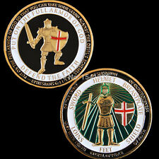 Chevaliers du Temple, Templiers croisés OR 3D effet Médaille de couleur color