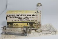 Vintage Russian Soviet USSR Medical Injection Syringe Multiple Use 20ml full set
