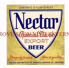 1950s Ambrosia Nectar Special Export Dark Beer 12oz CHICAGO Label Tavern Trove