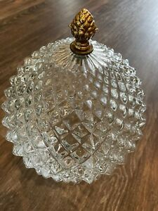 Vintage Large Diamond Textured Glass Pendant Light  Globe Shade Gold Finial