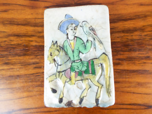 Antique Persian Ceramic Tile Man Riding Horse Holding Bird