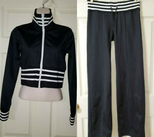 JL Juniors 2 Pc Truck Suit Zip Crop Jacket & Wide Pants Black/White Stretch Sz.S
