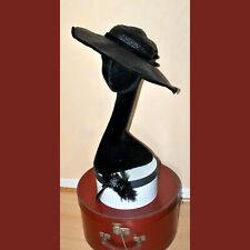 Chapeau VINTAGE grande capeline en paille noir - gallon noir velours - T.51