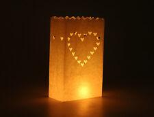 50 Hearts Wedding Candle White Paper Luminere Bag Lantern BBQ Reception Lighting