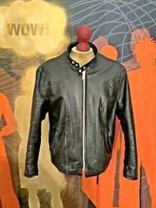 Vintage  SCHOTT  Cafe Racer Motorcycle Leather Jacket . Size 46-48 . TALON