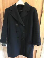 'S Max Mara Double Breasted Navy Virgin Wool Coat Jacket UK Size 12 Fits 10