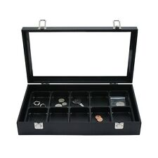 14 Inch Glass Top Jewelry Display Box with 10 Compartment Liner Tray Case Set