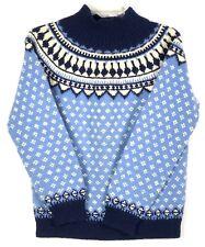 Marle Design Norway Womens Icelandic Wool Hand Knit Sweater Jumper Nordic Blue M