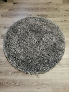 California Shag Dark Gray 4 ft. x 4 ft. Round Area Rug