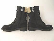 c59a3597c2b Chanel black combat military lace up felt suede boots booties sz 39.5 us 8  mint