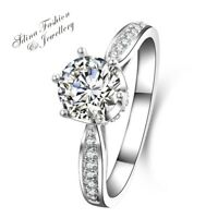 925 Sterling Silver SONA Diamond 1.0 ct Brilliant Cut Crown Engagement Ring