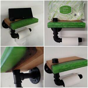 Epoxy Resin Wood Custom 2 Shelves an 1 Toilet Paper Holder Green Shelf Wall Art