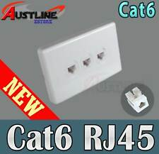 3Port Gang Cat6 Wall Plate Clipsal Style 3 RJ45 Cat 6 Jack +C-Clip AwC90