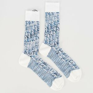 DIOR x SHAWN STUSSY 450$ Oblique Socks In White Stretch Cotton Jacquard