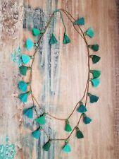 Long Turquoise Teal Green Gypsy Boho Beaded Fringe Tassel Necklace
