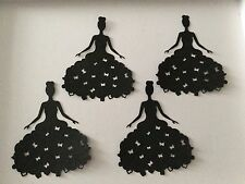 4 Black Princess /prom / wedding figure Die Cut shapes with butterflies on dress