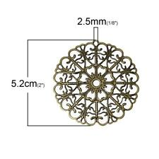 10 Bronze Filigree Round Wraps Large Connectors 52mm Stampings Embellishments