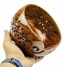 Rosewood Crafted Wooden Yarn Storage Bowl With Carved Holes and Drills