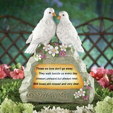 "Solar Lighted White Doves ""Loved Ones Lost"" Memorial Garden Stone Statue"