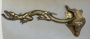 Vintage Brass Chinese Dragon Wall Mount Swivel Hook Hanger Bracket Hardware