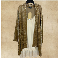 PLUS SIZE ANDREE BY UNIT EMBROIDERED LONG SLEEVE VELVET BOHO CARDIGAN 1X 2X 3X