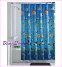 MAINSTAYS BATH SHOWER CURTAIN FABRIC PHOTO REAL FISH SEA BEACH 70 x 71 NEW ‏