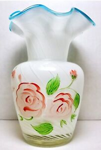White Hand Blown Glass Flared Vase Diagonal Lines Blue Rim Hand Painted Roses