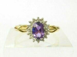 VINTAGE AMETHYST AND DIAMOND CLUSTER RING - 9CT GOLD