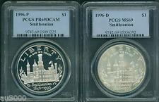 New listing 1996-P & 1996-D Smithsonian Silver Dollar Pcgs Ms69 & Pf69 Pr69 2-Coins Set !