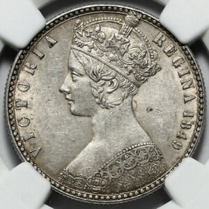 1849 VICTORIA GREAT BRITAIN SILVER GODLESS FLORIN TWO 2S SHILLINGS COIN NGC AU58