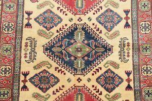 Geometric South-west Super Kazak Area Rug Hand-Knotted Oriental Wool Carpet 4x6