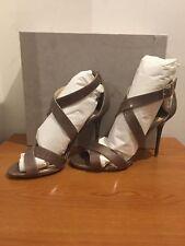 JIMMY CHOO Nude Lottie Patent Leather Crisscross Sandals UK 5 £600 Celeb Fav!!!
