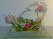 Glass candle holder pink tulip flowers floral sculpt candle Gift Wedding Xmas*2