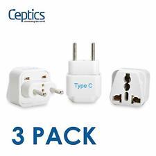 Ceptics Universal to Europe Travel Adapter Plug - Type C (GP-9C, 3 PK)