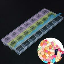 7 Days Weekly Transparent 21 Compartment Lid Tablet Pill Box Holder Case Box