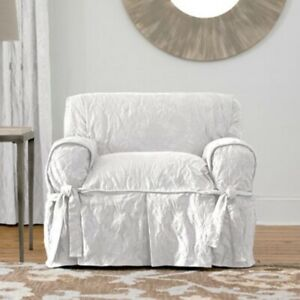 Sure Fit Matelasse Damask Chair Cover Polyester/Cotton Machine Washable White