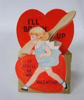 30's Valentine Card Die Cut Embossed Blonde Girl hair Brush Fold Out Vintage