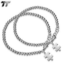 TT Stainless Steel 4mm & 5mm Bead Puzzle Bracelet For Couple Set Silver NEW