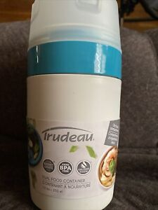 Trudeau Dual Food Container. New. 12 Ounce. White And Turquoise. 7.5 In. Tall.
