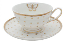 Bombay Duck Miss Golightly Tea Cup and Saucer Gold White
