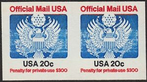 IMPERF 20¢ OFFICIAL PAIR, EXTREMELY RARE #O135a, MNH CURRENT RETAIL $1,000