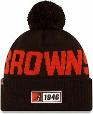 Nfl Cleveland Browns Road Sideline 2019 Bobble Woolly Hat Cuffed Knit Newera