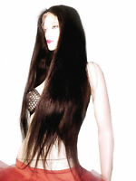REAL Human Hair Remi Remy Glueless Full Lace Wig Straight Darkest Brown #2