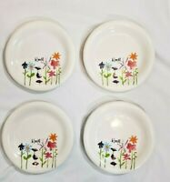 RAE DUNN Bloom Appetizer Plate Set 4  Floral Artisan Collection Magenta Plates