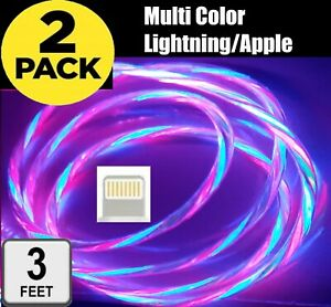 LED 2 Pack Fast Charging USB Charger Cable for iPhone 12/11 + Pro/XS Max/XR/X/8/
