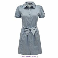Collar Patternless Short Sleeve Shirt Dresses for Women