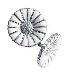 Georg Jensen Silver White Earrings DAISY - 11 mm